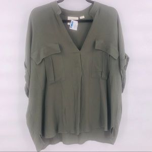 Anthro Maeve army green top size XL viscose